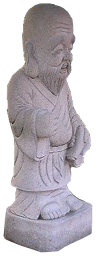 A statue of a man from a Shinto shrine